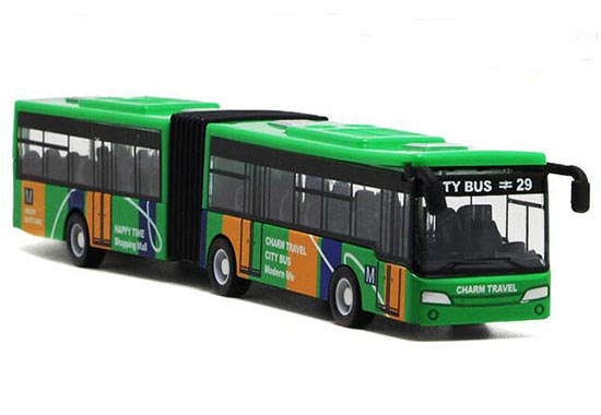 Kids Red / Blue / Green Die-Cast Articulated City Bus Toy