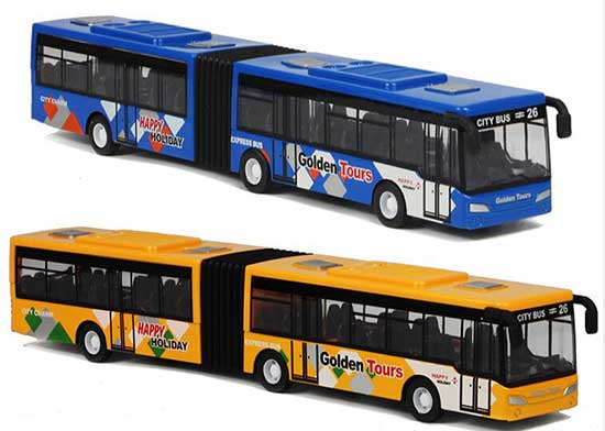 Red / Blue / Yellow Pull-Back Function Diecast Articulated Bus