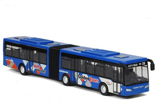Red / Blue / Yellow Pull-Back Function Die-Cast Articulated Bus