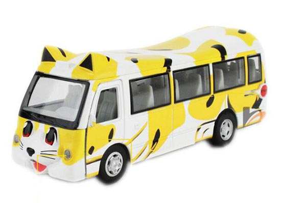 Yellow-White Pull-Back Function Cat Design Die-Cast School Bus