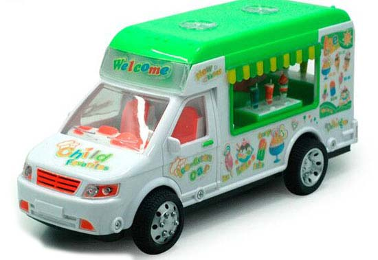 Kids White-Green Plastics Ice Cream Bus Toy
