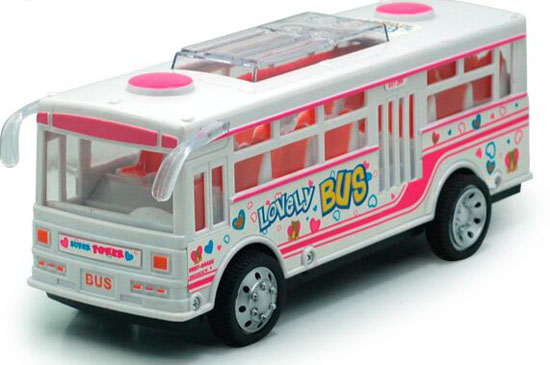 Kids White-Pink Plastics City Bus Toy
