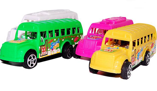 Green / White / Pink / Yellow Mini Scale Plastics School Bus Toy