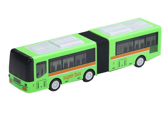 Kids Green / Blue Plastics Electric Articulated City Bus Toy