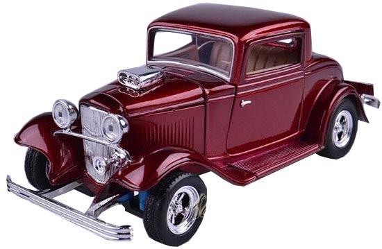 Wine Red / Black 1:24 Scale Die-Cast 1932 Ford Coupe Model