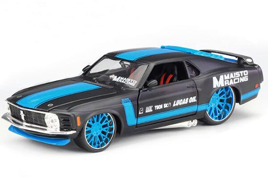Black-Blue 1:24 Scale Diecast 1970 Ford Mustang Boss 302 Model