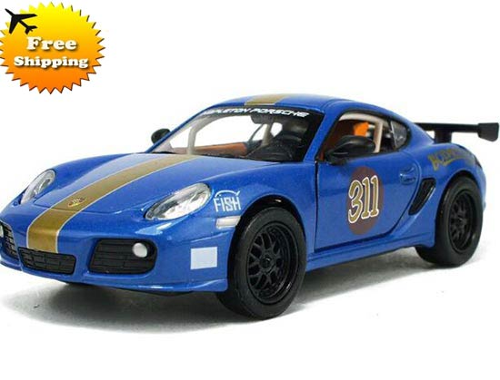 Yellow / Blue Kids 1:32 Scale Die-Cast Porsche Cayman Toy