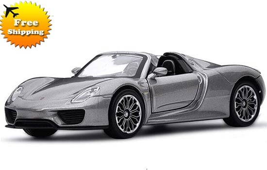 Gray 1:36 Scale Welly Kids Die-Cast Porsche 918 Spyder Toy