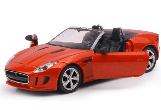 Kids White / Blue / Orange Die-Cast Jaguar F-Type Roadster Toy