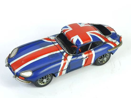 Handmade Blue Medium Scale Tinplate 1961 Jaguar E-Type Model