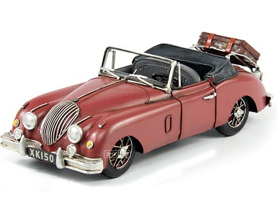 Red Handmade Medium Scale Tinplate 1959 Jaguar XK150 Model