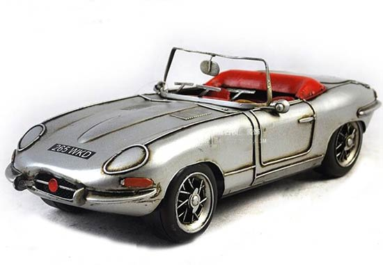 Silver Handmade Medium Scale Vintage 1961 Jaguar E-Type Model