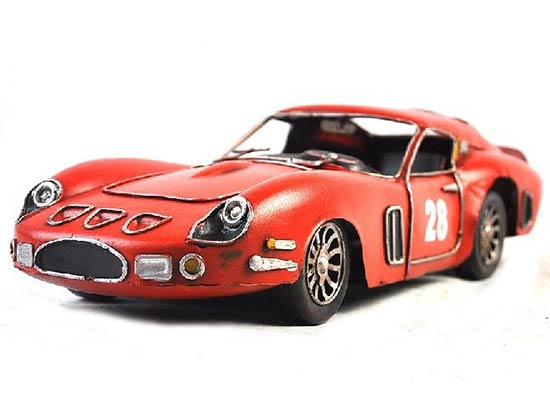 Red Medium Scale Handmade Vintage Tinplate Jaguar E-Type