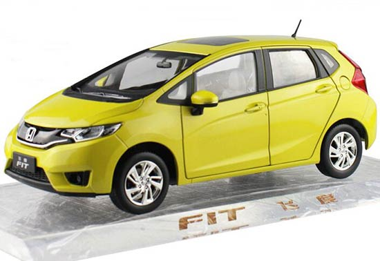 Blue / Yellow / Silver 1:18 Scale Diecast Honda FIT Model