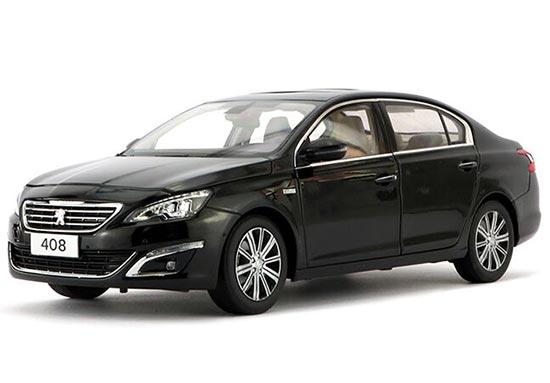 White / Black 1:18 Scale Diecast 2014 Peugeot 408 Model