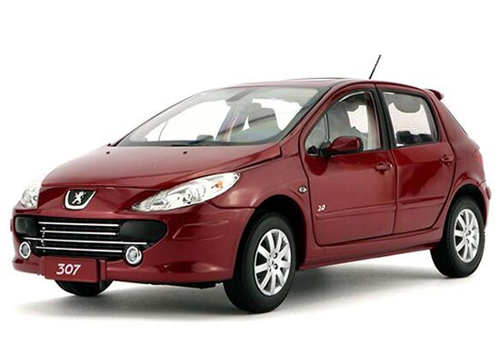 Red / Golden 1:18 Scale Die-Cast Peugeot 307 Model