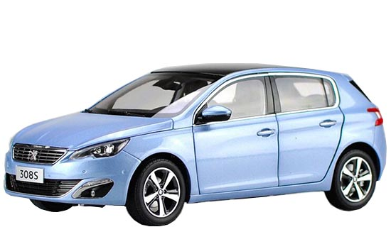 White / Blue 1:18 Scale Diecast Peugeot 308S Model