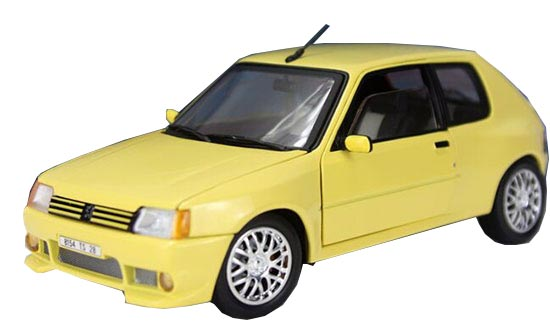 Red / Black / Blue / Yellow 1:18 Die-Cast 1990 Peugeot 205 Model