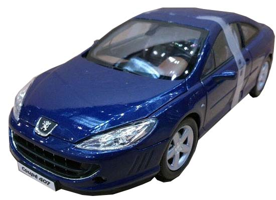 1:18 Scale Blue NOREV Diecast 2005 Peugeot 407 Coupe Model