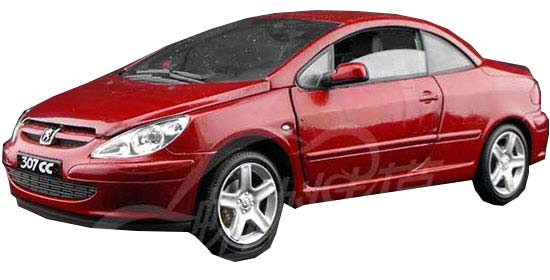 Red 1:18 Scale SOLIDO Die-Cast Peugeot 307CC Model
