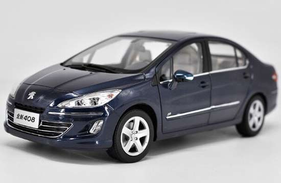 1:18 Scale White / Blue Die-Cast 2012 Peugeot 408 Mode