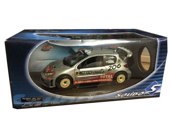 Silver 1:18 Scale Solido WRC Die-Cast Peugeot 206 Model