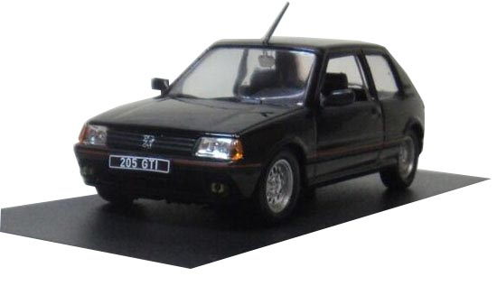 Black 1:43 Atlas Die-Cast 1985 Peugeot 205 GTI Model