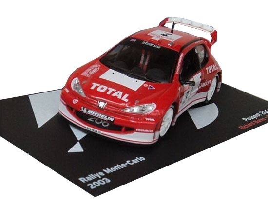Red 1:43 Scale IXO Die-Cast 2003 Peugeot 206 WRC Model