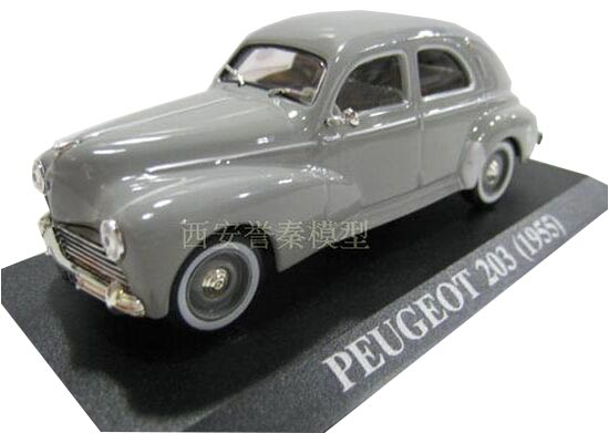 Gray 1:43 Scale IXO Diecast Peugeot 203 1955 Model