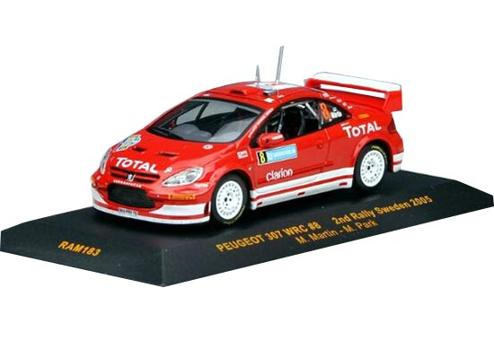 Red 1:43 Scale IXO Diecast Peugeot 307 WRC Model