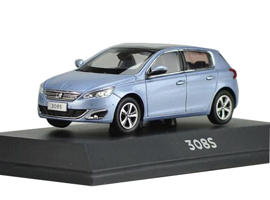 White / Blue 1:43 Scale Diecast Peugeot 308S Model