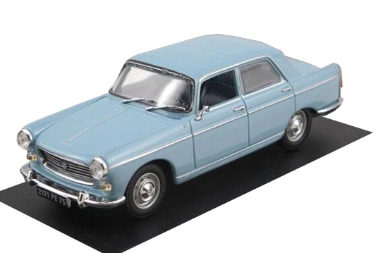 White / Blue 1:43 Scale Diecast Peugeot 404 1966 Model