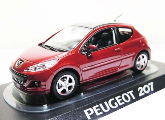 Red 1:43 Scale NOREV Diecast Peugeot 207 Model