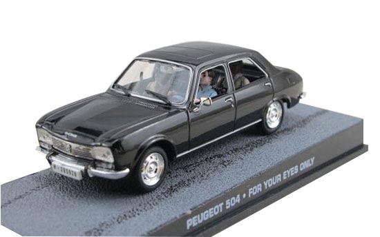 Black 1:43 Scale UH Diecast Peugeot 504 Model