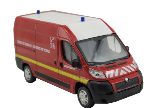 Red 1:43 Scale Diecast Peugeot BOXER Model