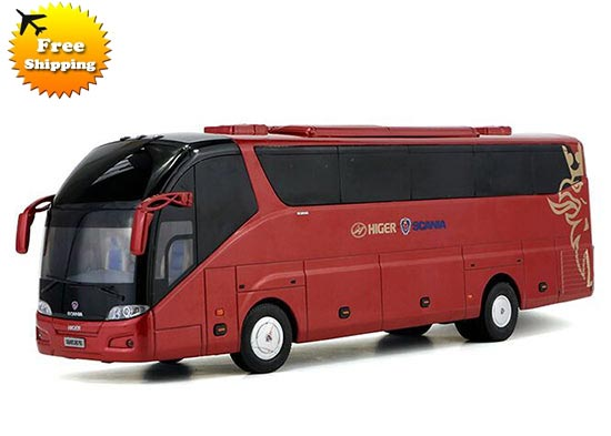 Red 1:42 Scale Die-Cast Scania Higer A90 Tour Bus Model
