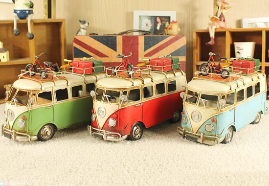 Blue / Green / Red Medium Scale Tinplate Vintage VW Bus Model