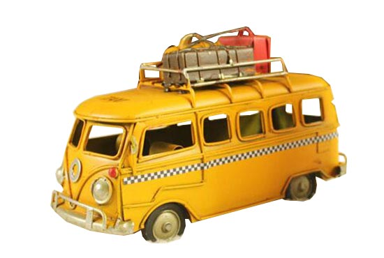 Yellow Small Scale Tinplate Handmade VW Taxi Bus Model
