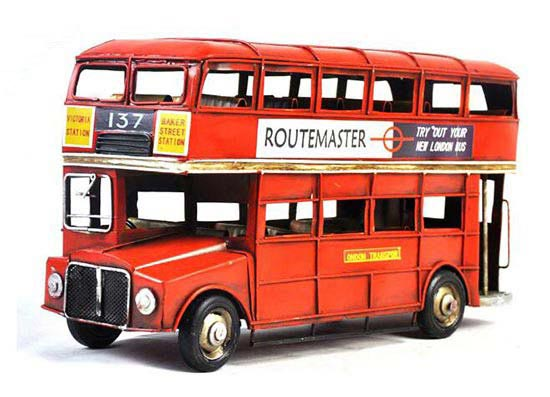 Red Large Scale Handmade NO.137 London Double Decker Bus Model