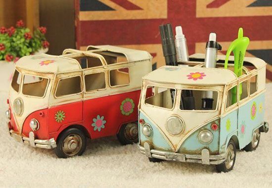 Red / Blue Handmade Small Scale Tinplate VW Bus Model