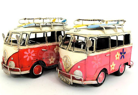 Red / Blue / Green / Pink Handmade Medium Scale VW Bus Model