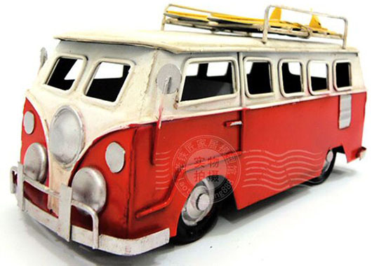 Red / Blue / Green / Yellow Handmade Small Scale Tinplate VW Bus