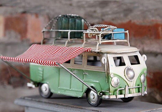 Red / Green / Blue Small Scale Tinplate VW Camper Bus Model