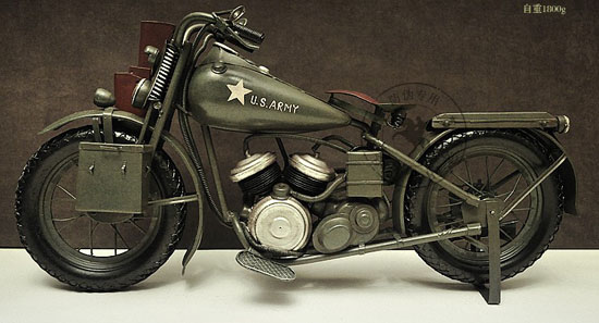 Handmade Large Scale Tinplate 1944 Harley Davidson WLA Model