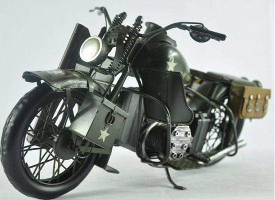 Large Scale Army Green Tinplate 1943 Harley Davidson WLA Model