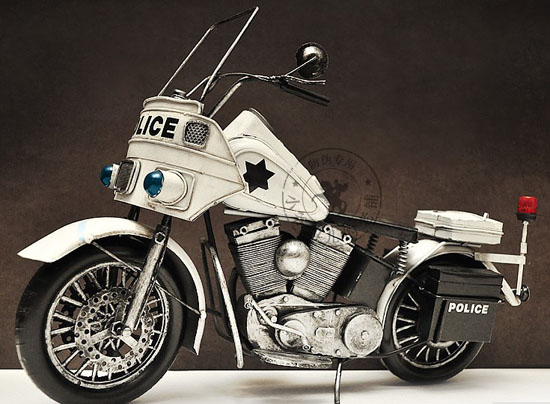 White Large Scale Handmade Police Tinplate 1940s Harley Davidson