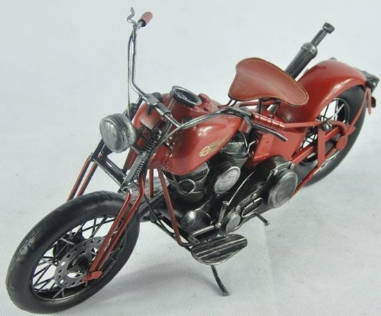Handmade Wine Red Medium Scale Tinplate Harley Davidson Model