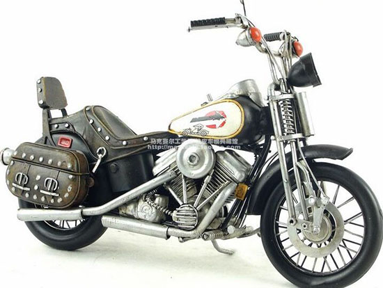 Medium Scale Handmade Tinplate Vintage Harley Davidson Model