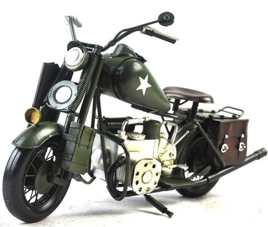 Army Green Medium Scale Handmade Tinplate 1943 Harley Davidson