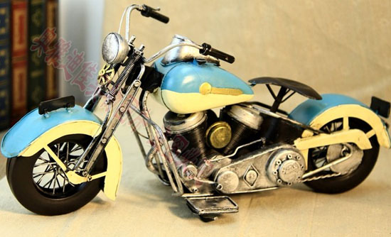 Handmade Medium Scale White-Blue Tinplate Harley Davidson Model
